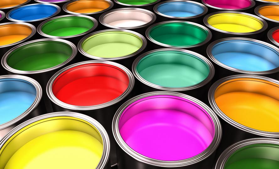 malerbøtter med mange farver - Lyse Rum