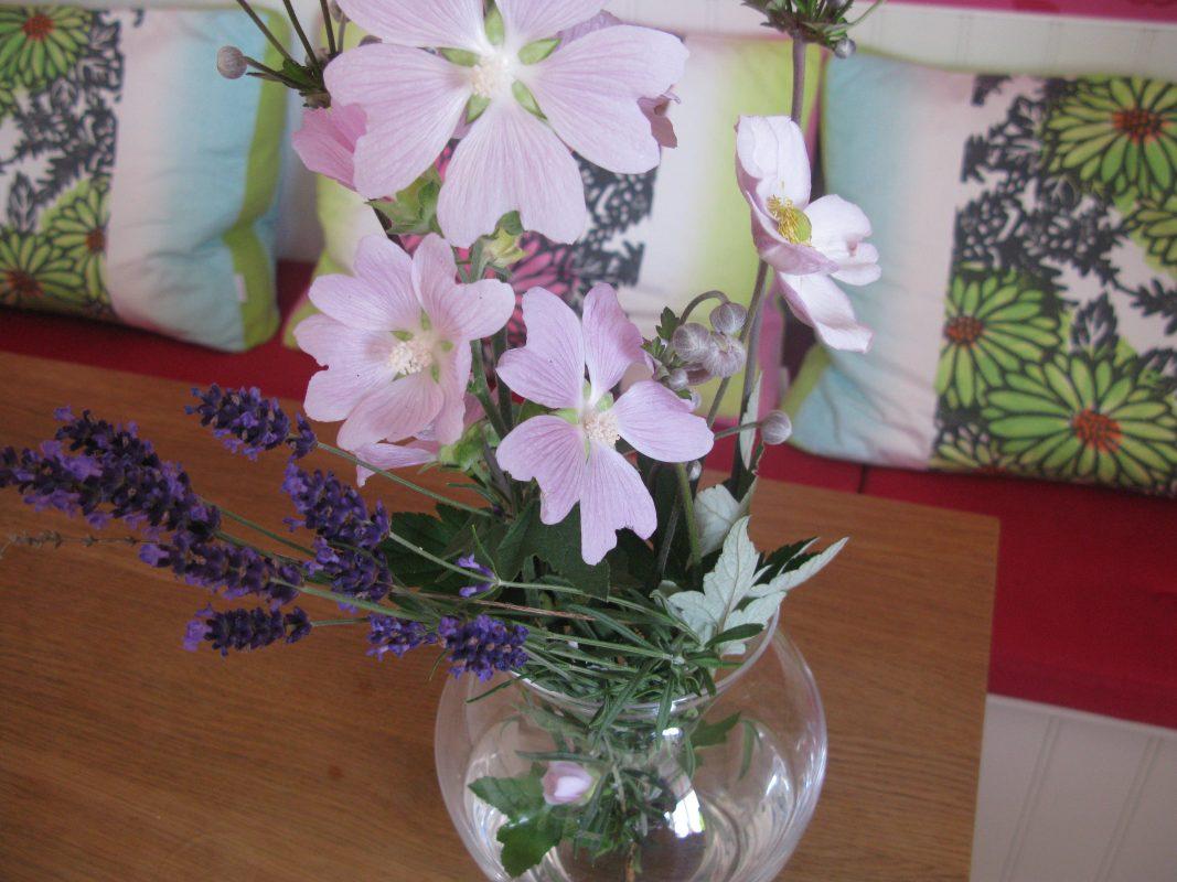 lyserøde blomster i vase